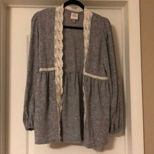 Heather gray cardigan with lace detail